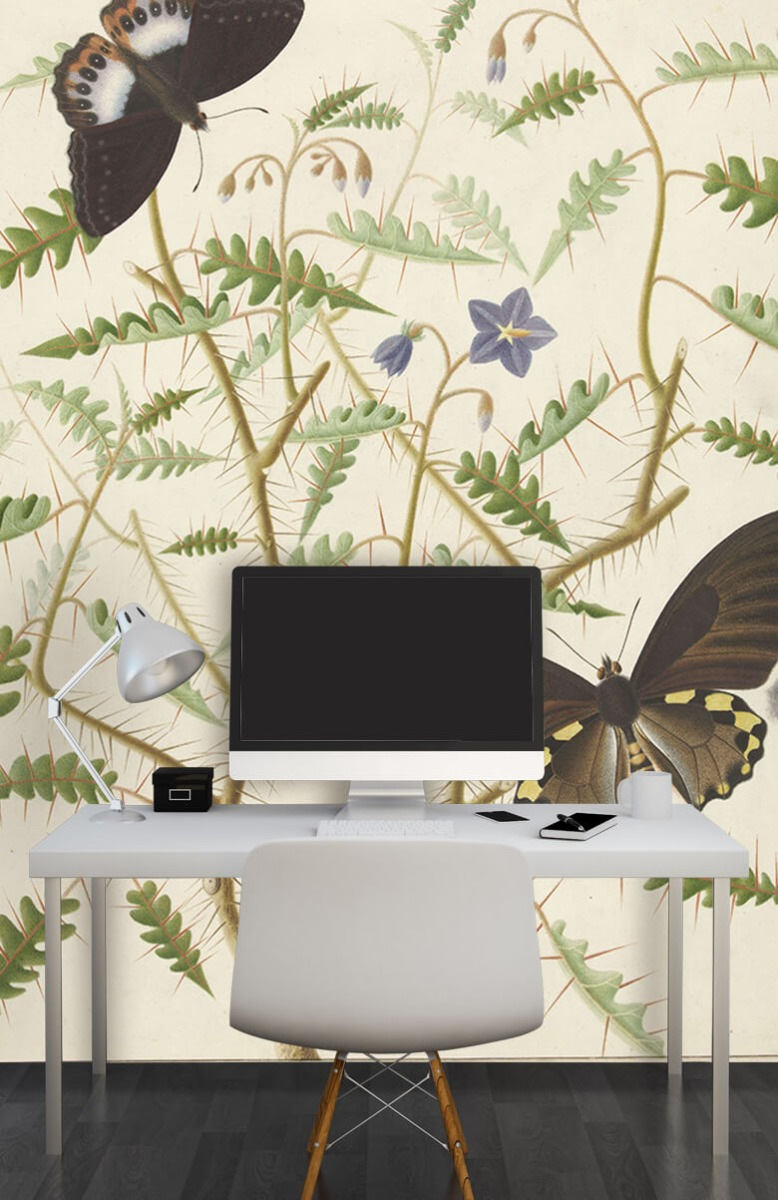 Kunst Een bloesemende struik met twee uitheemse vlinders 10