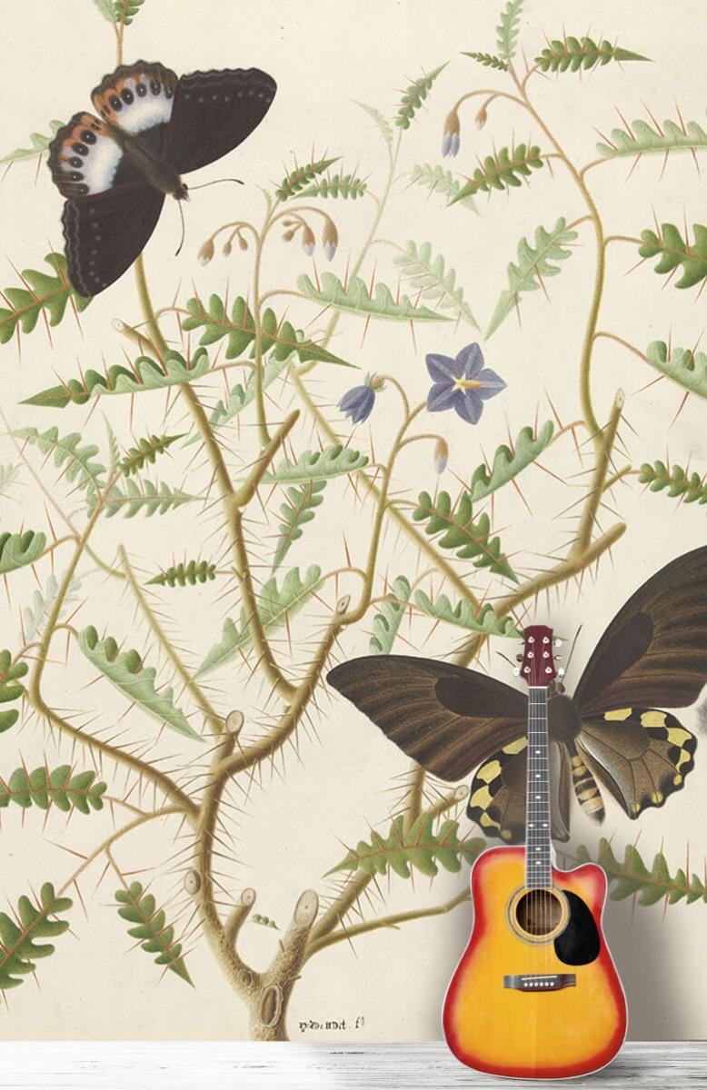 Kunst Een bloesemende struik met twee uitheemse vlinders 11