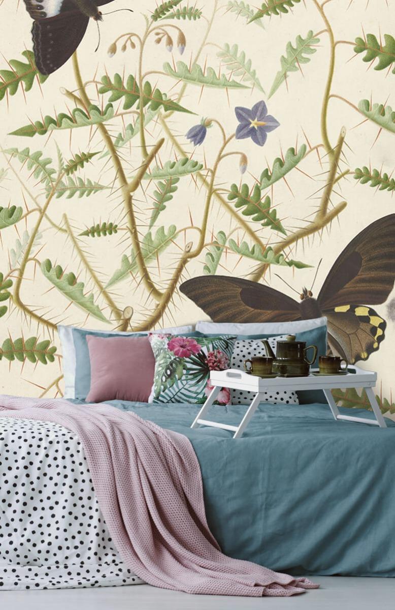 Kunst Een bloesemende struik met twee uitheemse vlinders 12