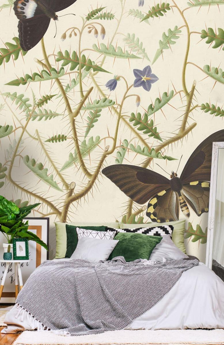 Kunst Een bloesemende struik met twee uitheemse vlinders 13