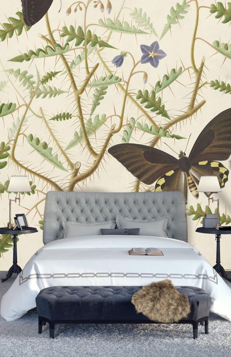 Kunst Een bloesemende struik met twee uitheemse vlinders 14