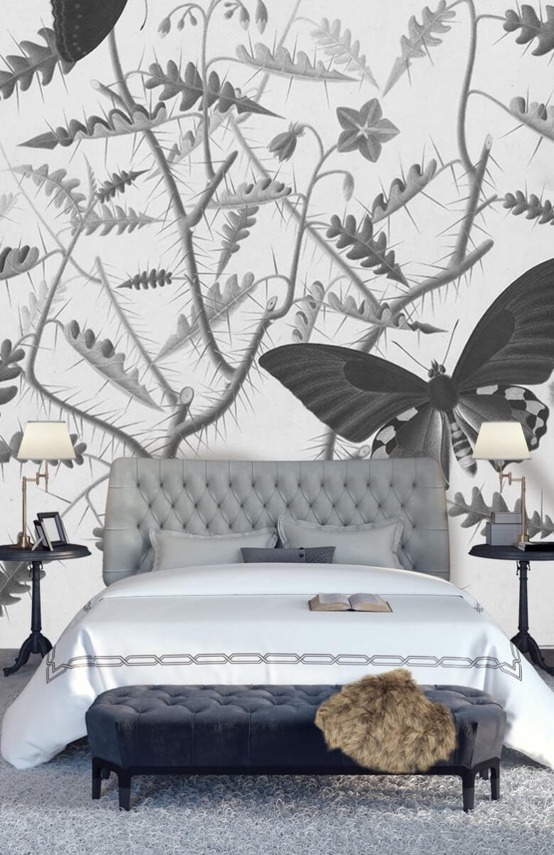 Kunst Een bloesemende struik met twee uitheemse vlinders 15