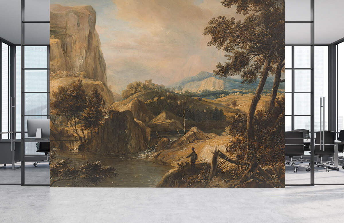 Rijksmuseum - Bergachtig landschap met visser - Woonkamer 3
