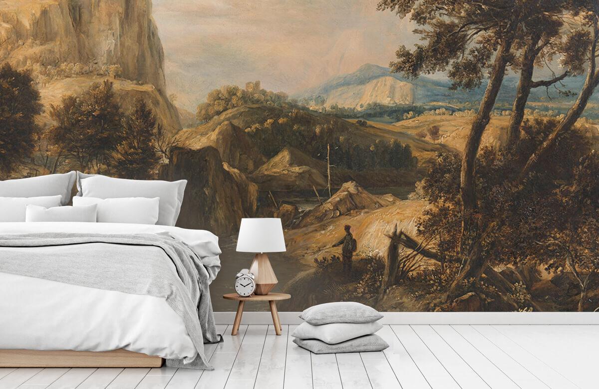 Rijksmuseum - Bergachtig landschap met visser - Woonkamer 7