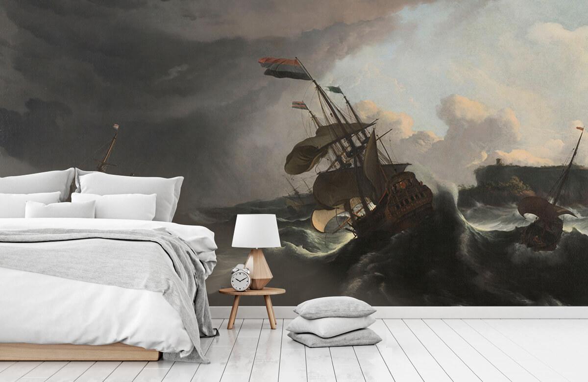 Overige - Oorlogsschepen tijdens een storm - Slaapkamer 7