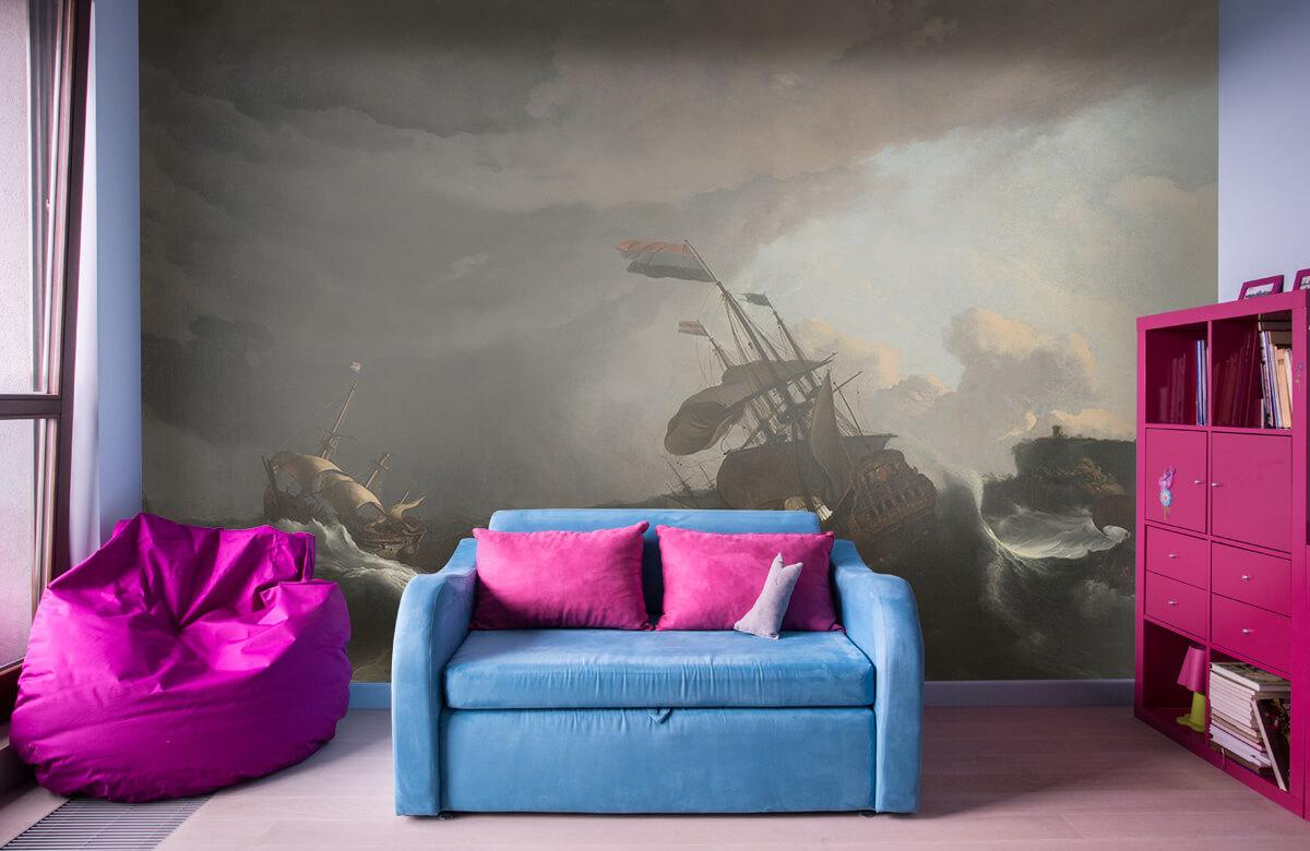 Overige - Oorlogsschepen tijdens een storm - Slaapkamer 10