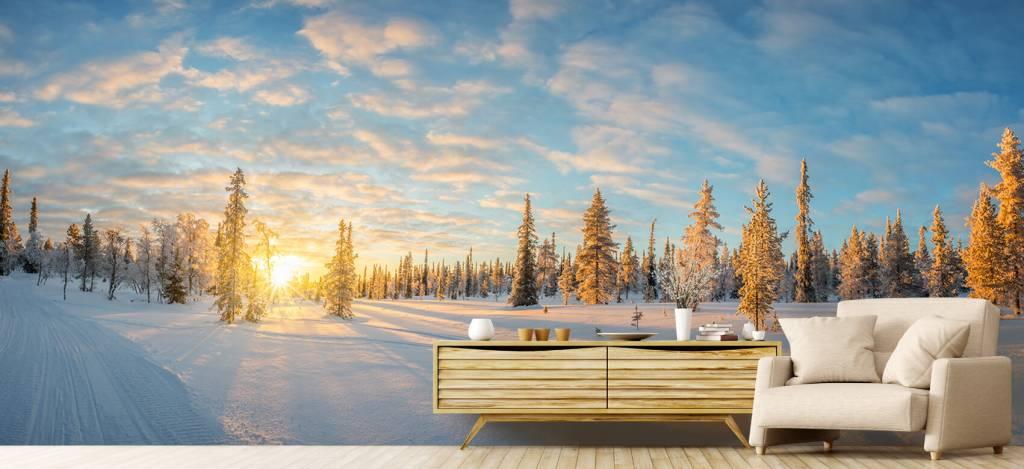 Winter - Sneeuwlandschap bij zonsondergang - Kantine 6