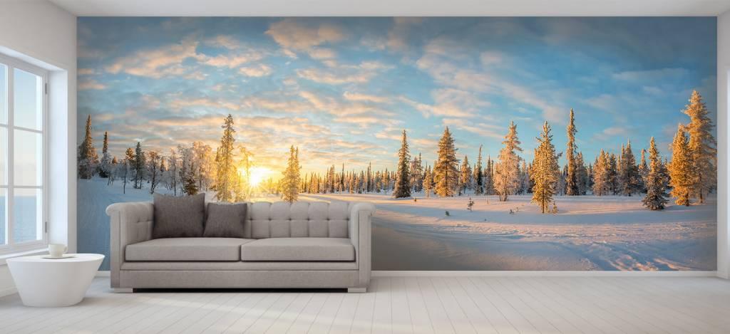 Winter - Sneeuwlandschap bij zonsondergang - Kantine 8