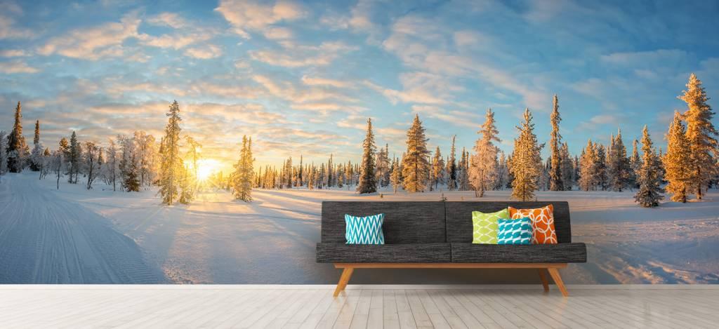 Winter - Sneeuwlandschap bij zonsondergang - Kantine 9