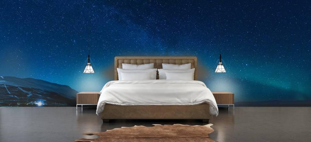 Noorderlicht - Sterrenhemel met noorderlicht - Slaapkamer 1