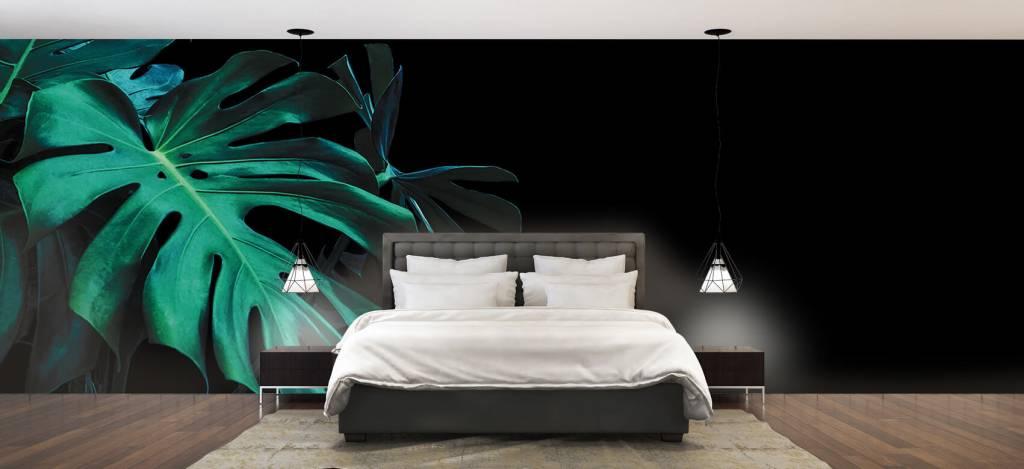 Bladeren - Tropische bladeren op zwarte achtergrond - Slaapkamer 3
