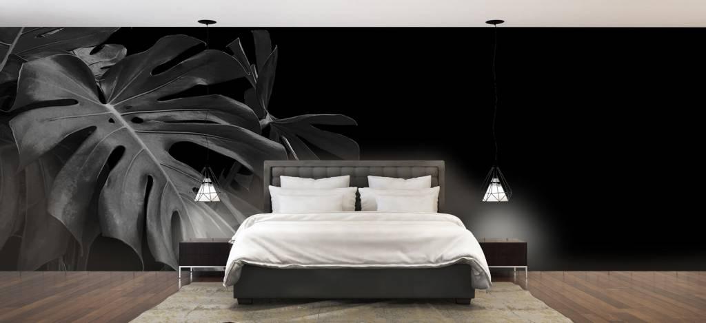Bladeren - Tropische bladeren op zwarte achtergrond - Slaapkamer 4