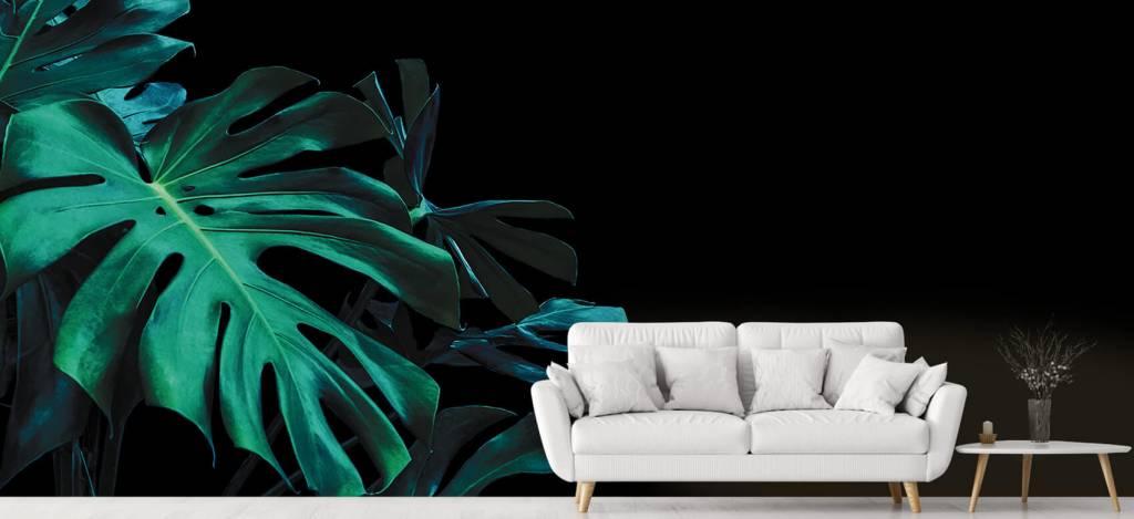 Bladeren - Tropische bladeren op zwarte achtergrond - Slaapkamer 6