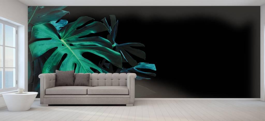Bladeren - Tropische bladeren op zwarte achtergrond - Slaapkamer 7