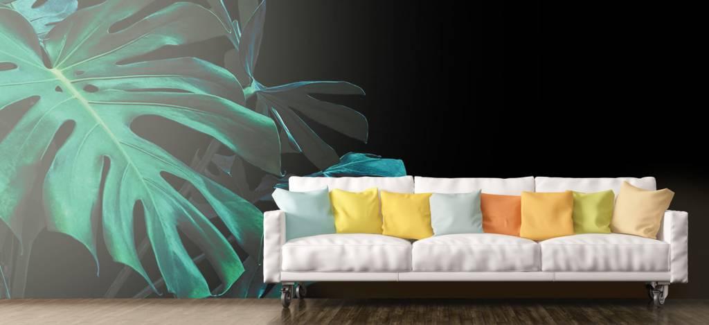 Bladeren - Tropische bladeren op zwarte achtergrond - Slaapkamer 8