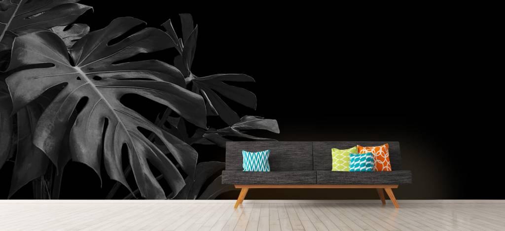 Bladeren - Tropische bladeren op zwarte achtergrond - Slaapkamer 9