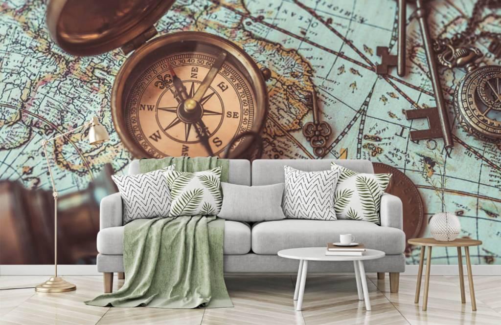 Retro behang - Vintage wereldkaart met kompas - Hobbykamer 1
