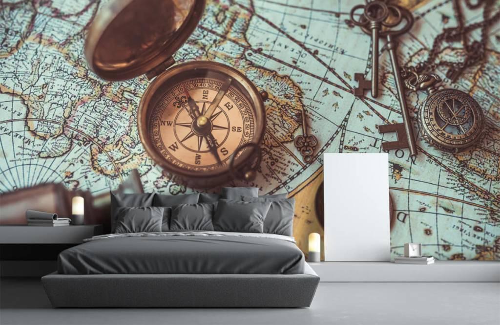 Retro behang - Vintage wereldkaart met kompas - Hobbykamer 4