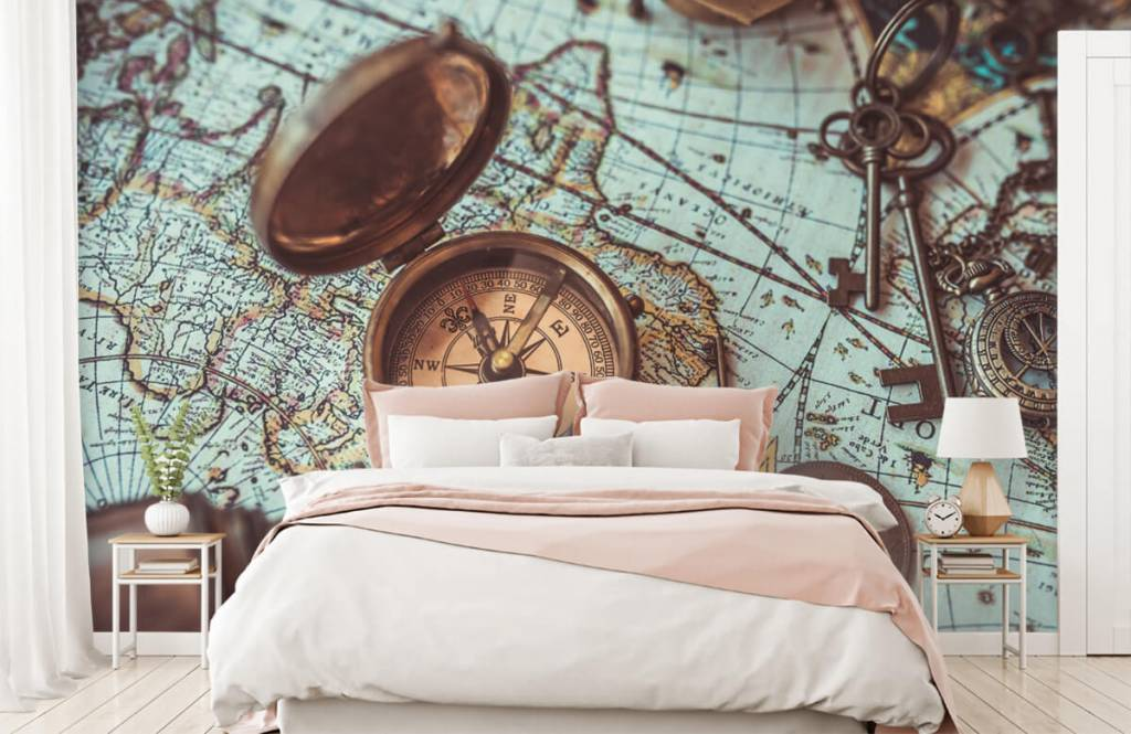 Retro behang - Vintage wereldkaart met kompas - Hobbykamer 7