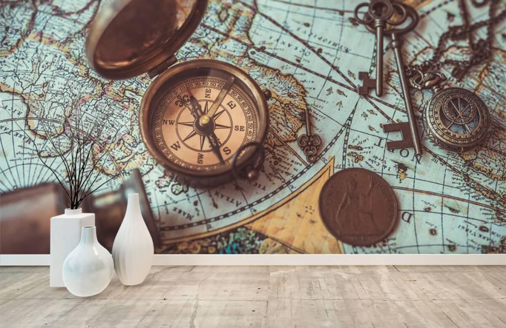 Retro behang - Vintage wereldkaart met kompas - Hobbykamer 8