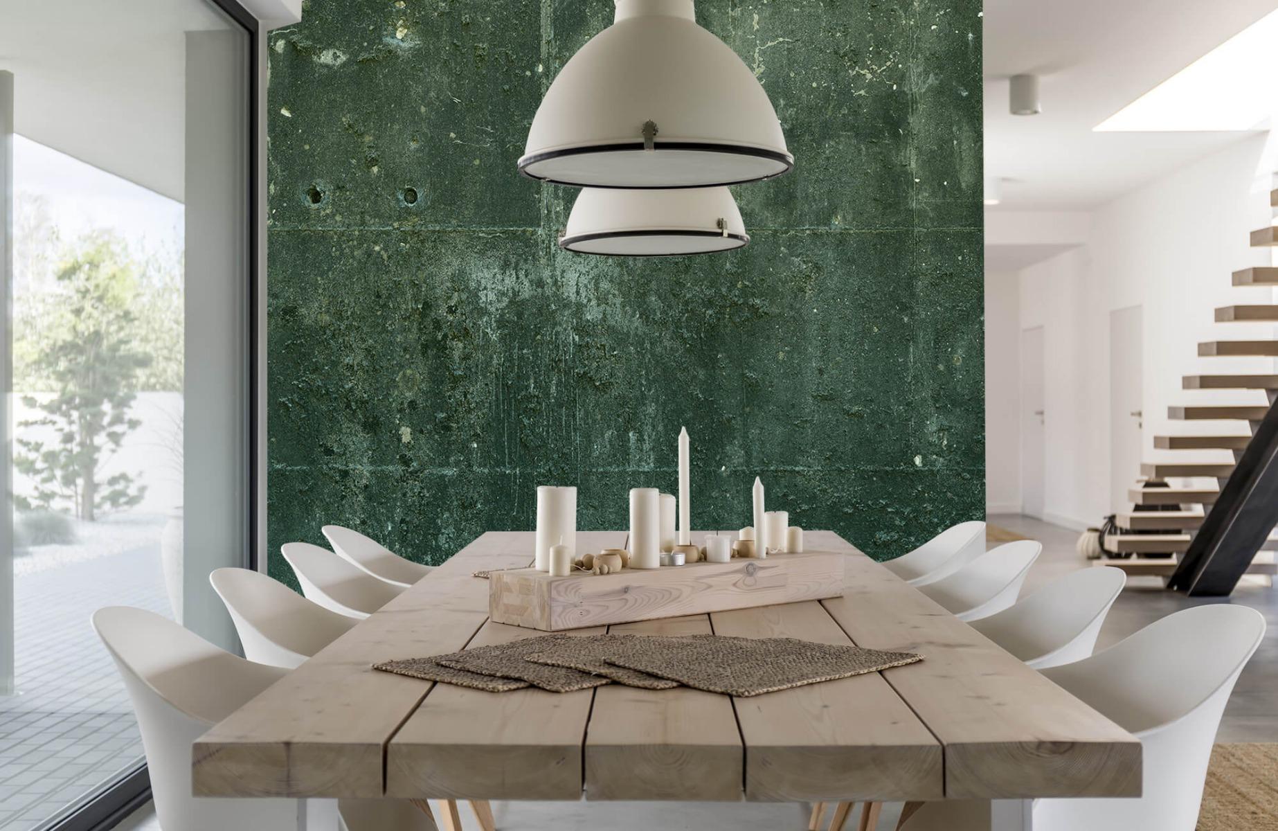 Betonlook behang - Groen betonlook - Hal 3