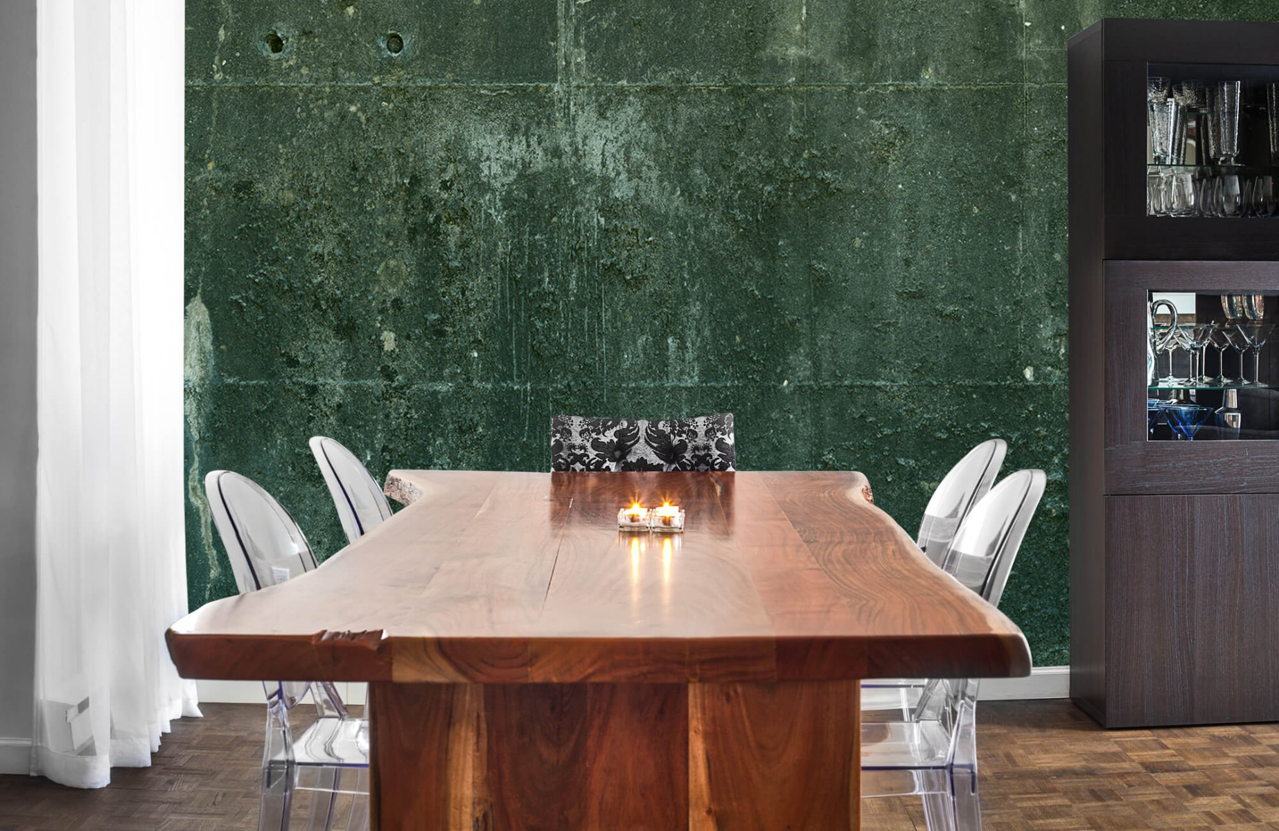 Betonlook behang - Groen betonlook - Hal 4