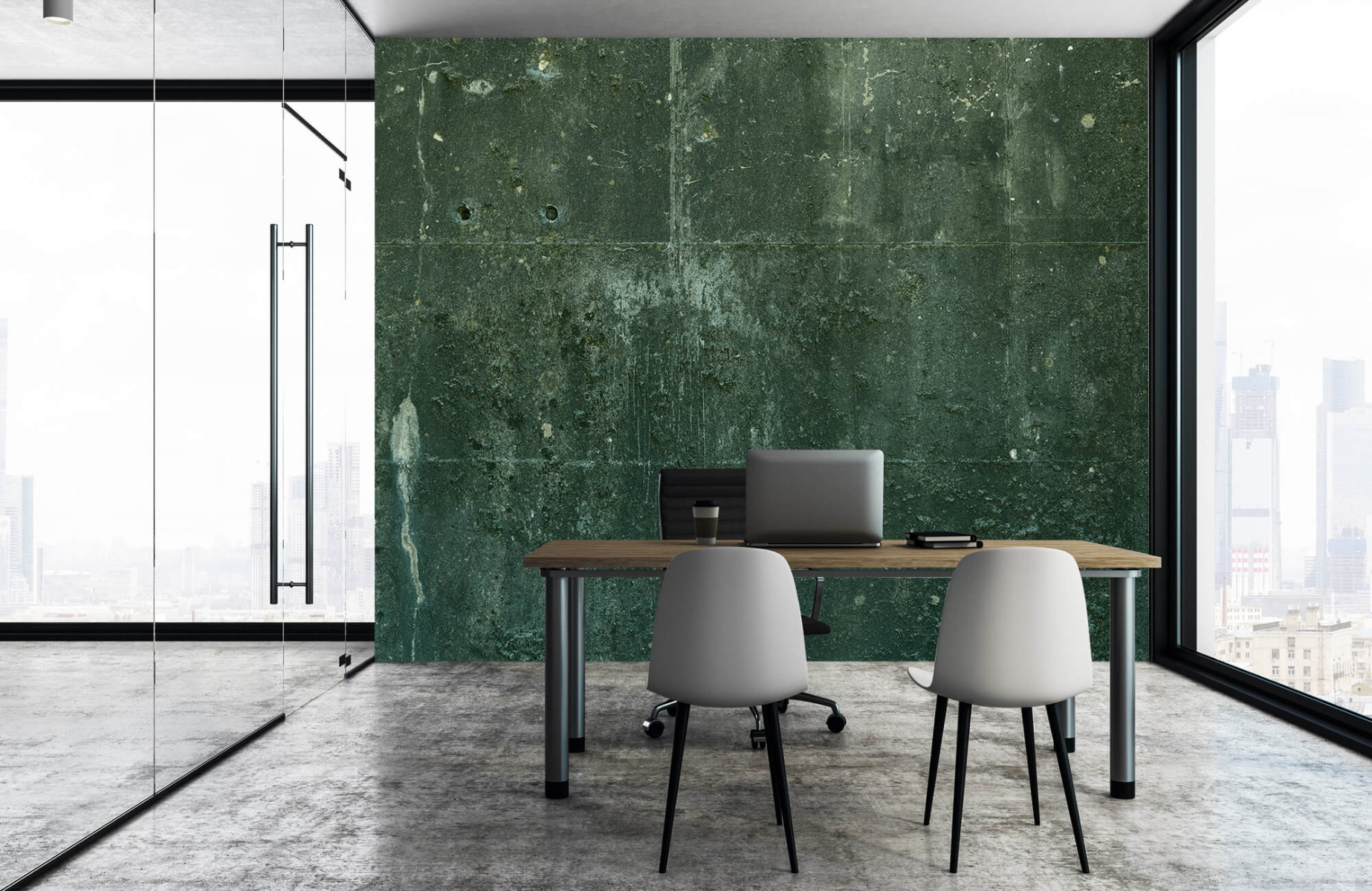 Betonlook behang - Groen betonlook - Hal 5