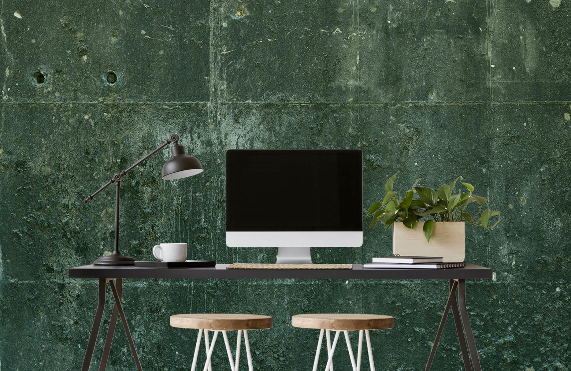 Betonlook behang - Groen betonlook - Hal 8