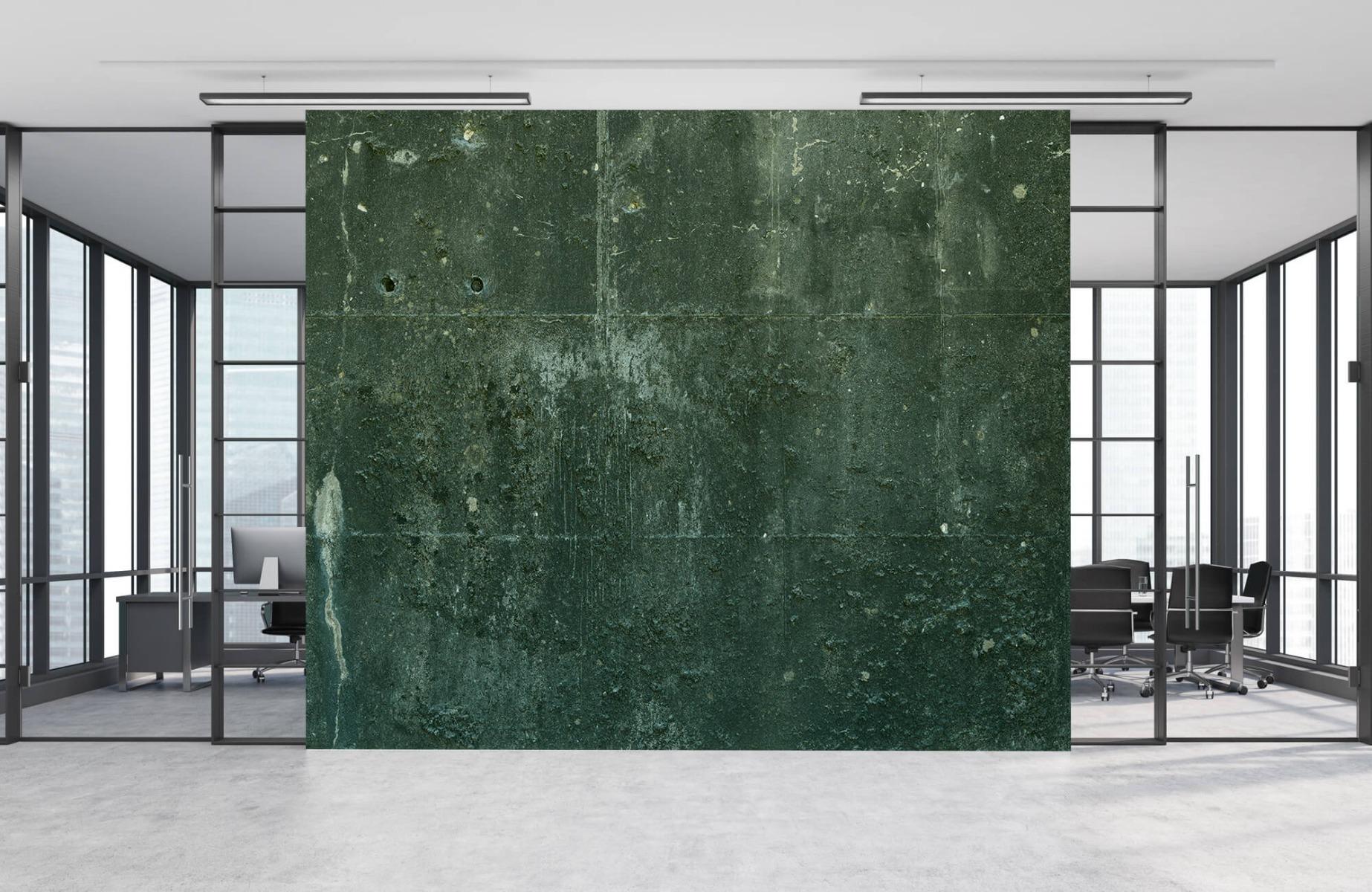 Betonlook behang - Groen betonlook - Hal 10