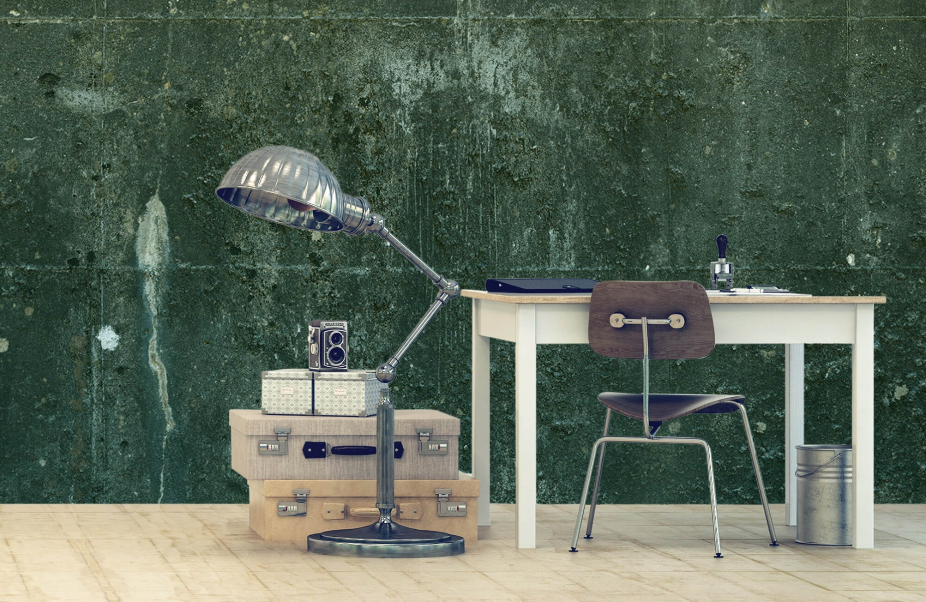 Betonlook behang - Groen betonlook - Hal 11