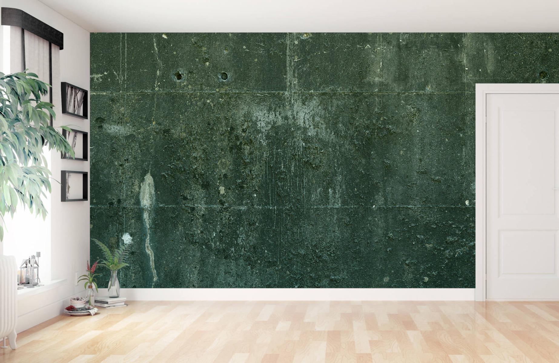 Betonlook behang - Groen betonlook - Hal 12