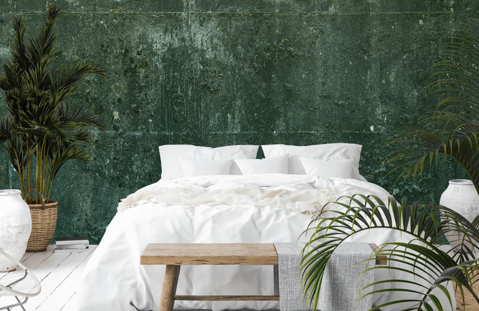 Betonlook behang - Groen betonlook - Hal 14