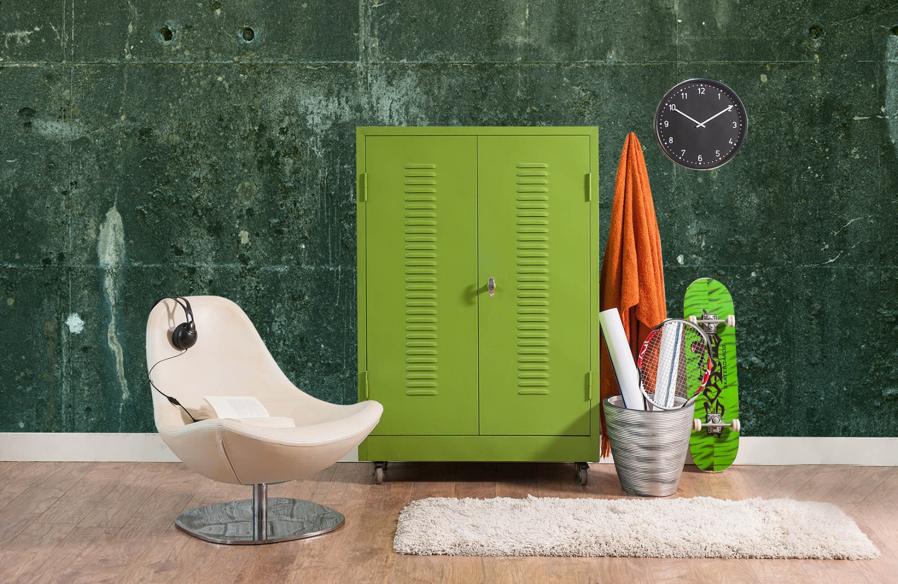 Betonlook behang - Groen betonlook - Hal 19