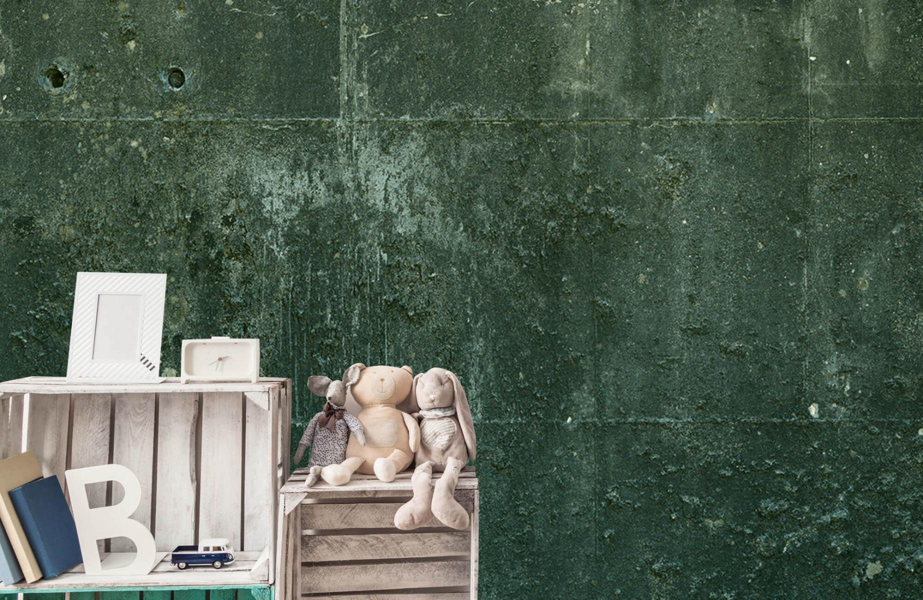 Betonlook behang - Groen betonlook - Hal 20