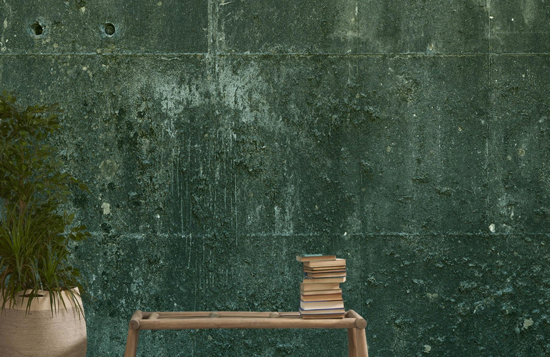 Betonlook behang - Groen betonlook - Hal 21