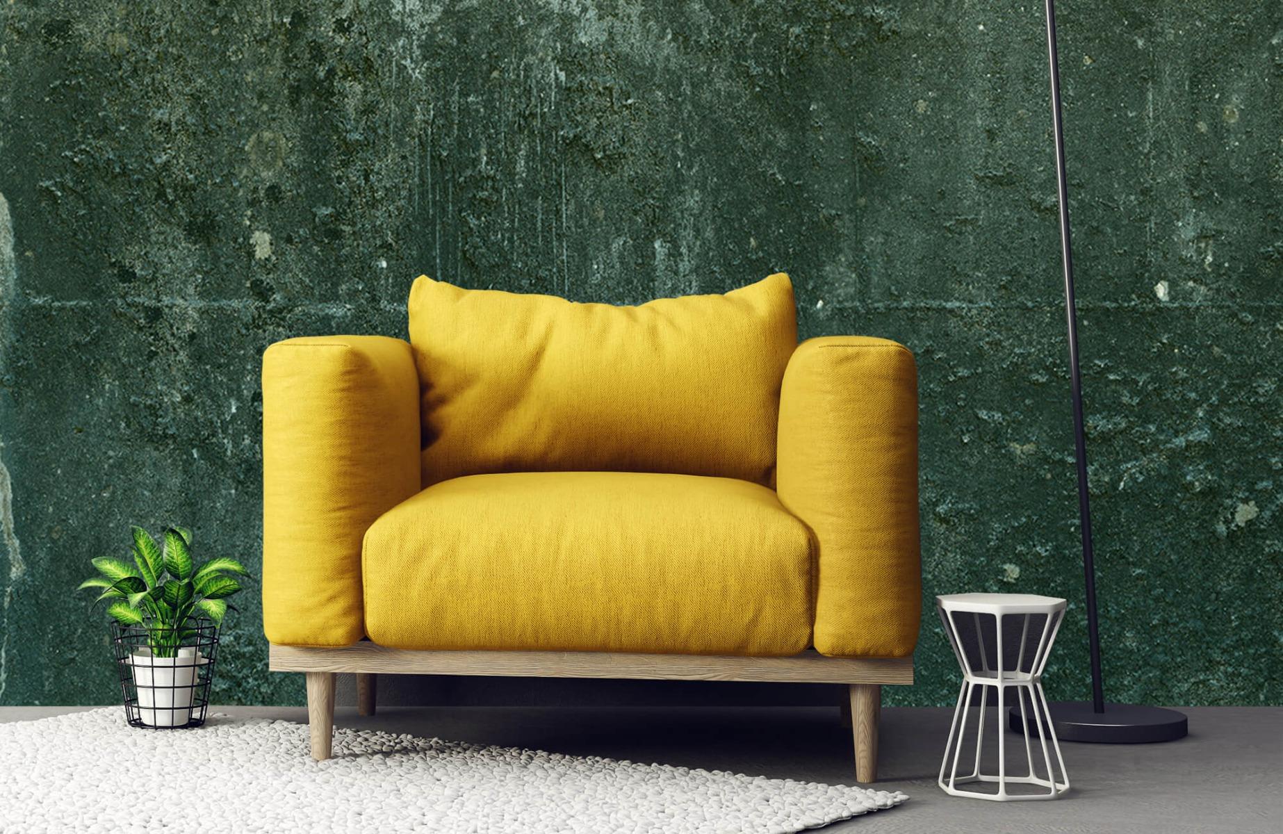 Betonlook behang - Groen betonlook - Hal 1