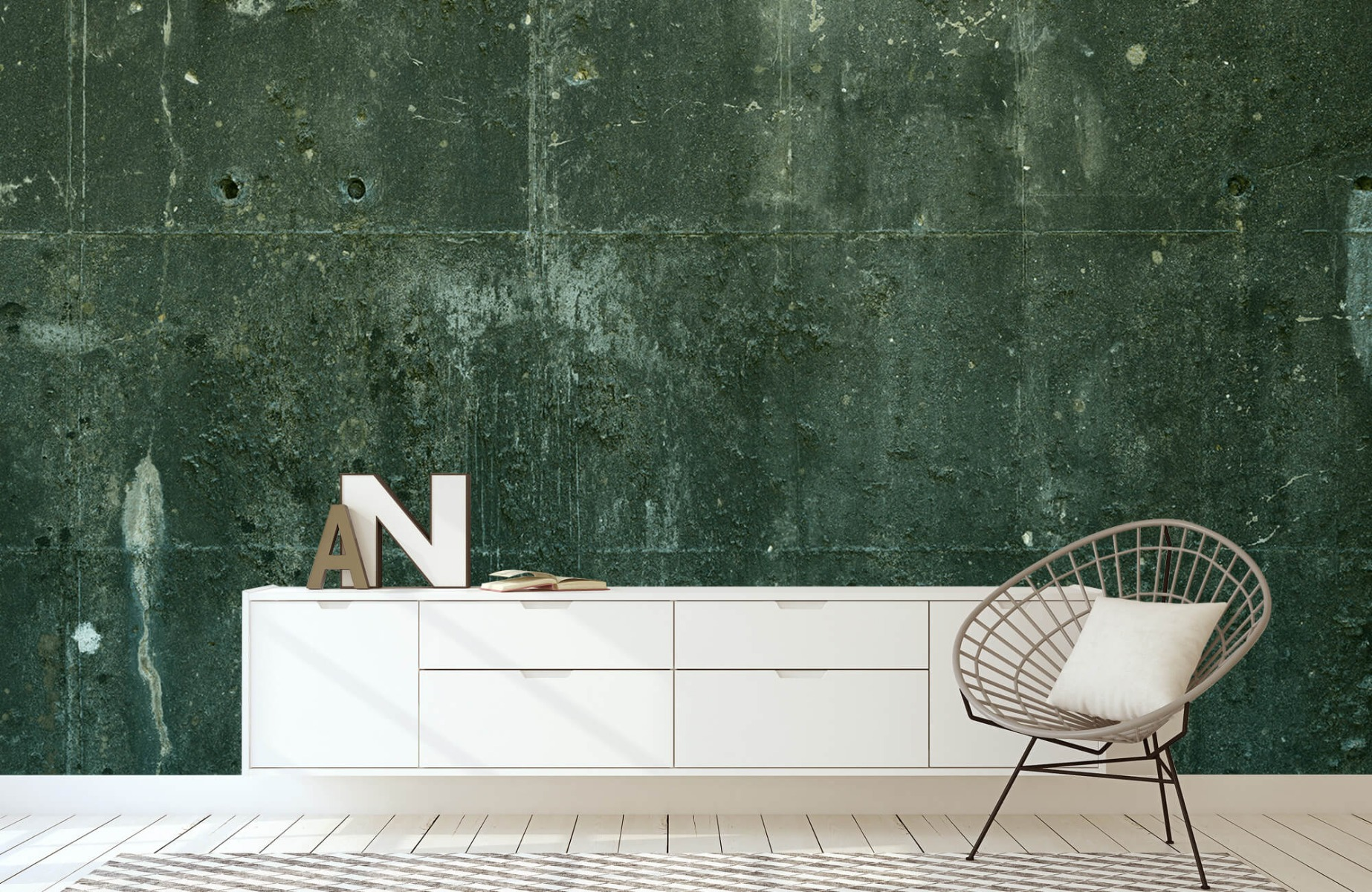 Betonlook behang - Groen betonlook - Hal 23