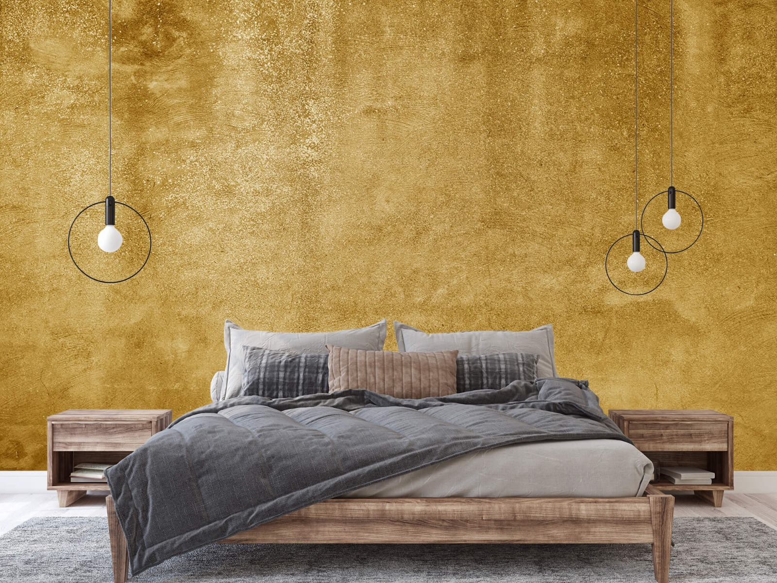 Betonlook behang - Oker geel beton - Woonkamer 3