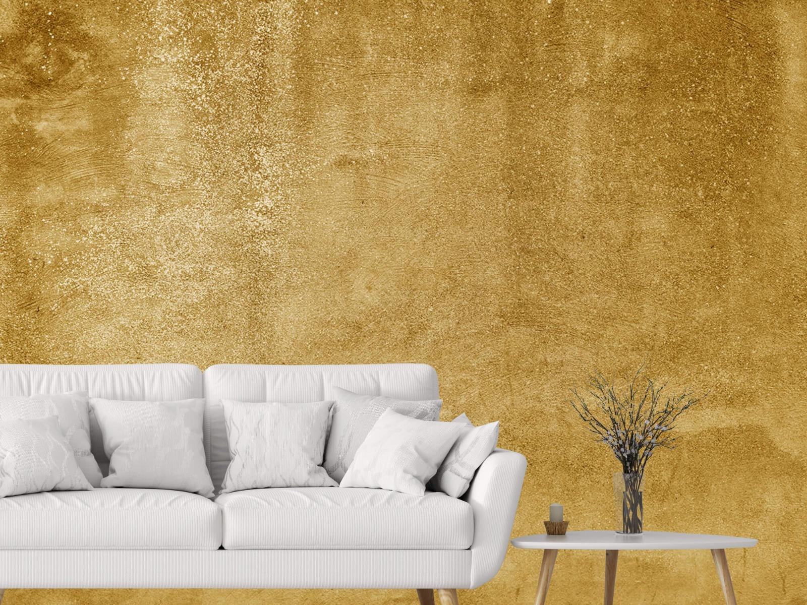 Betonlook behang - Oker geel beton - Woonkamer 4