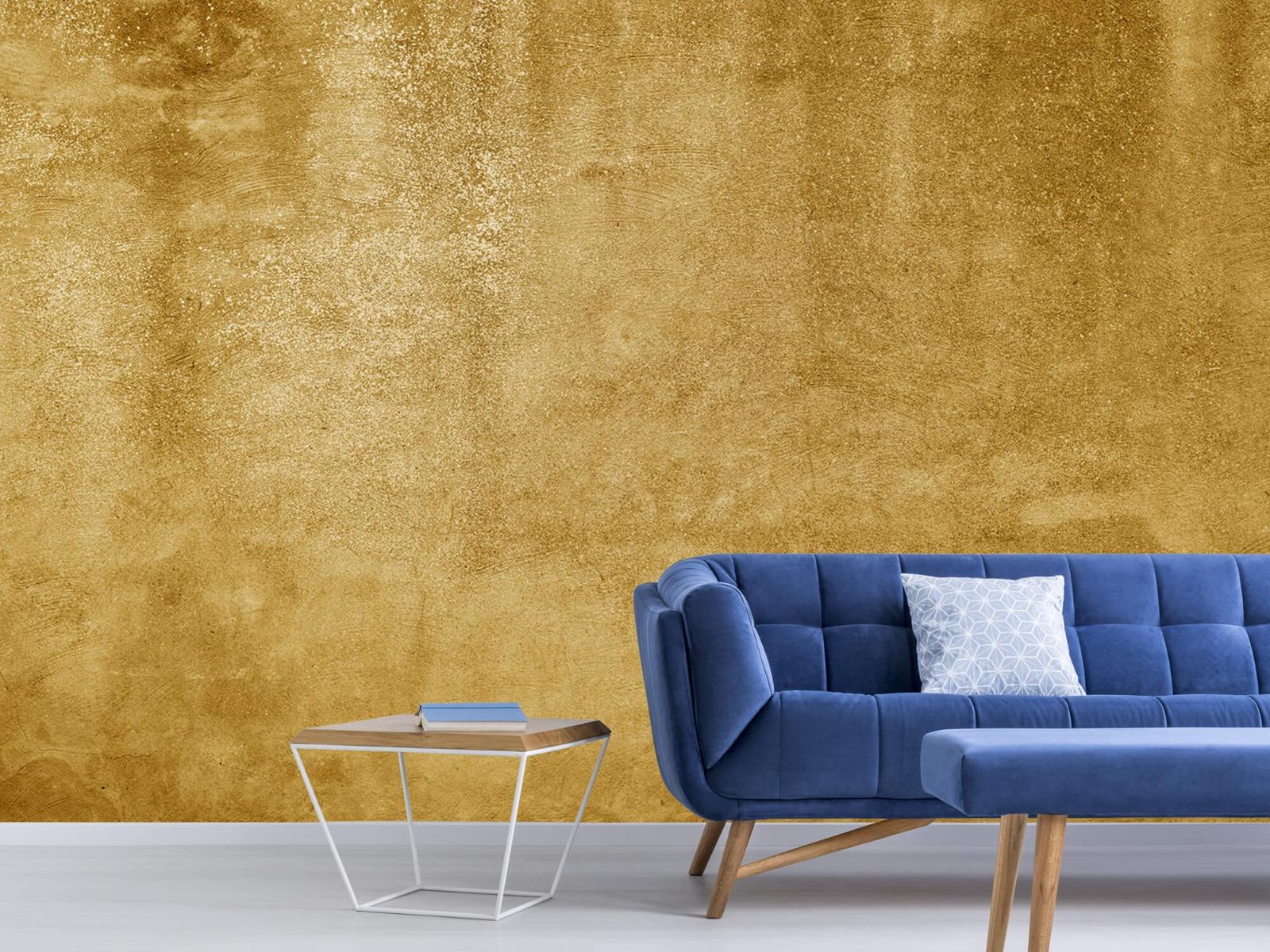 Betonlook behang - Oker geel beton - Woonkamer 6