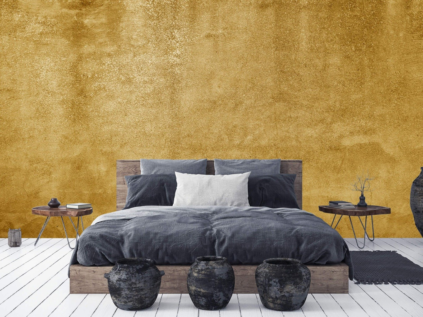 Betonlook behang - Oker geel beton - Woonkamer 2