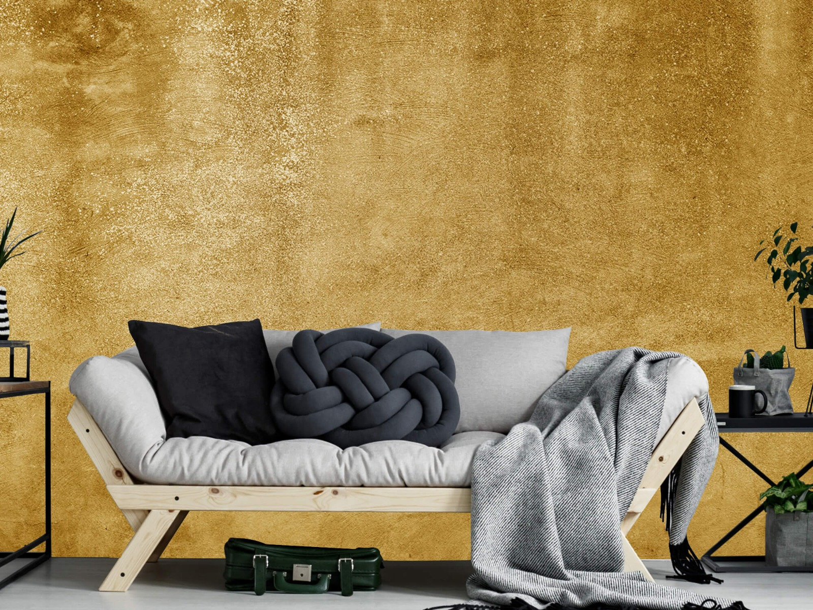 Betonlook behang - Oker geel beton - Woonkamer 7