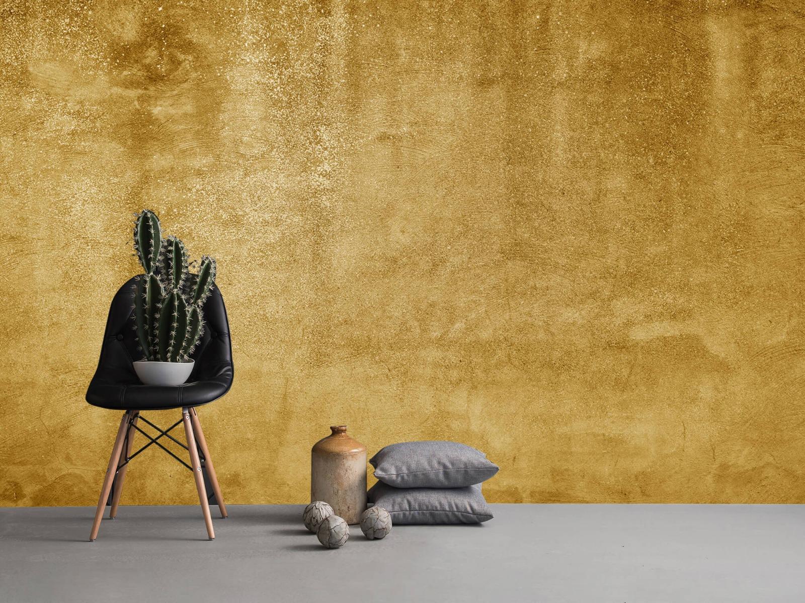 Betonlook behang - Oker geel beton - Woonkamer 1