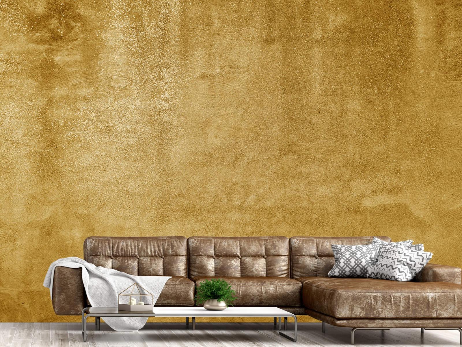Betonlook behang - Oker geel beton - Woonkamer 14