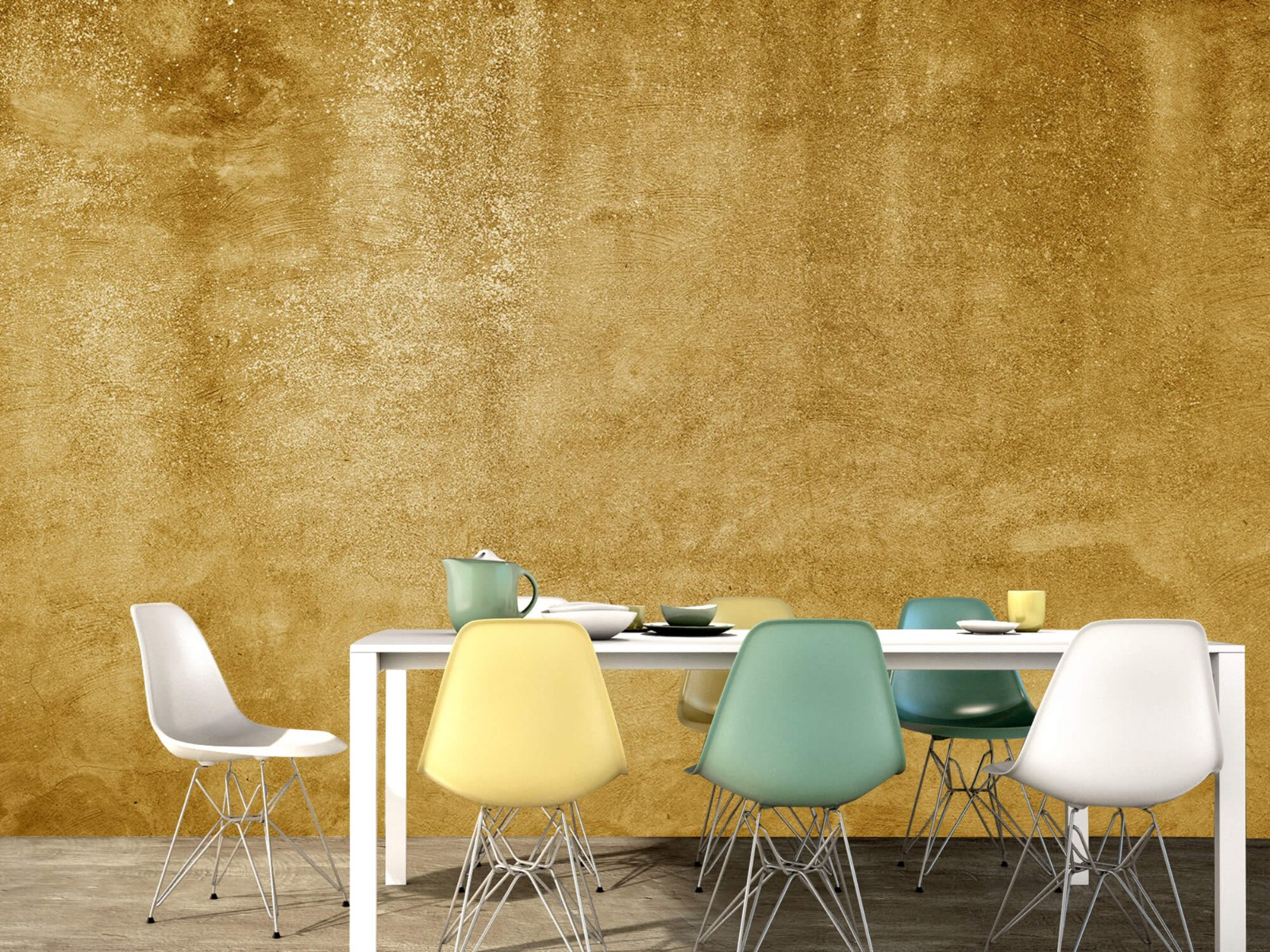 Betonlook behang - Oker geel beton - Woonkamer 15