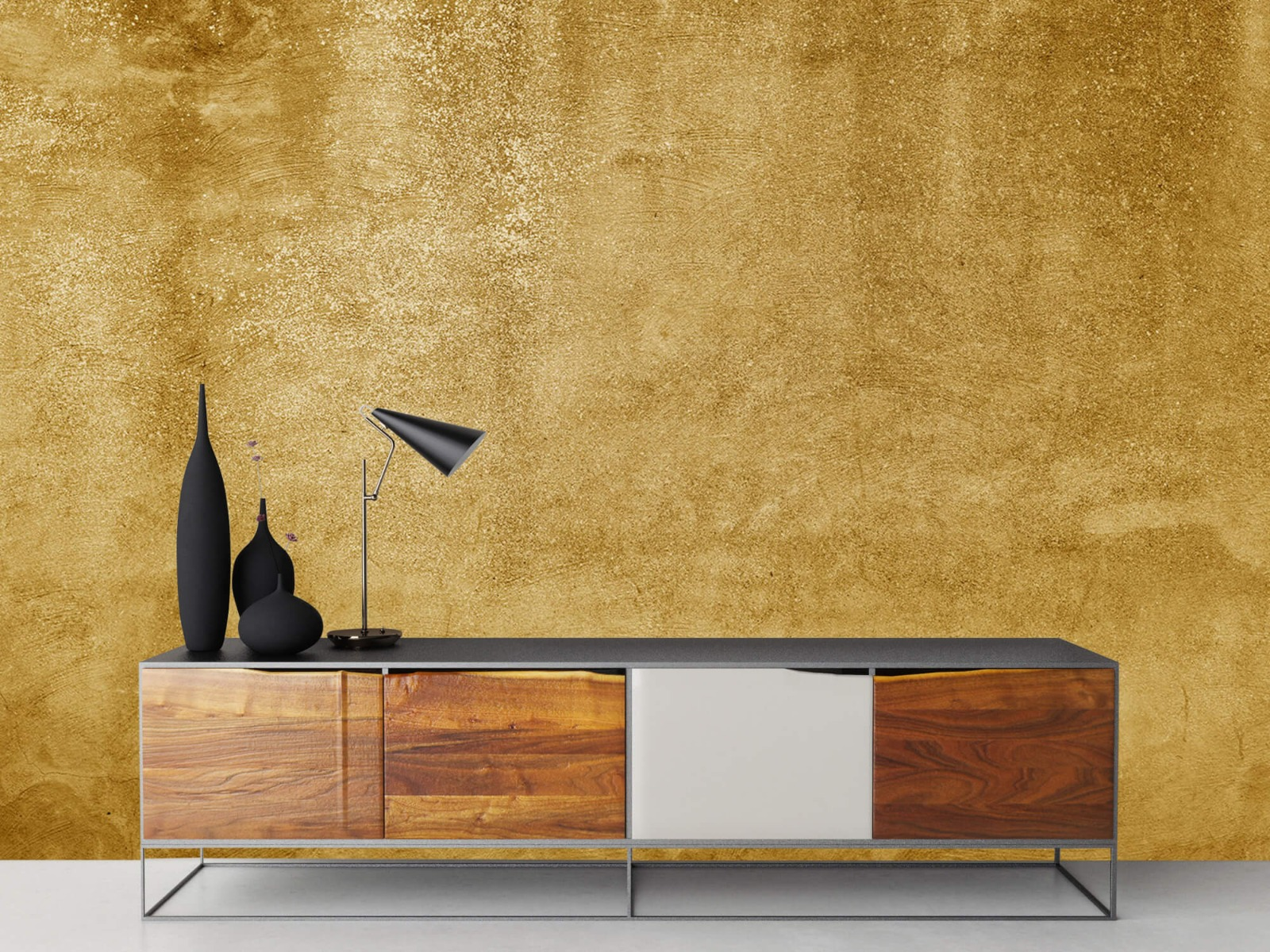 Betonlook behang - Oker geel beton - Woonkamer 16