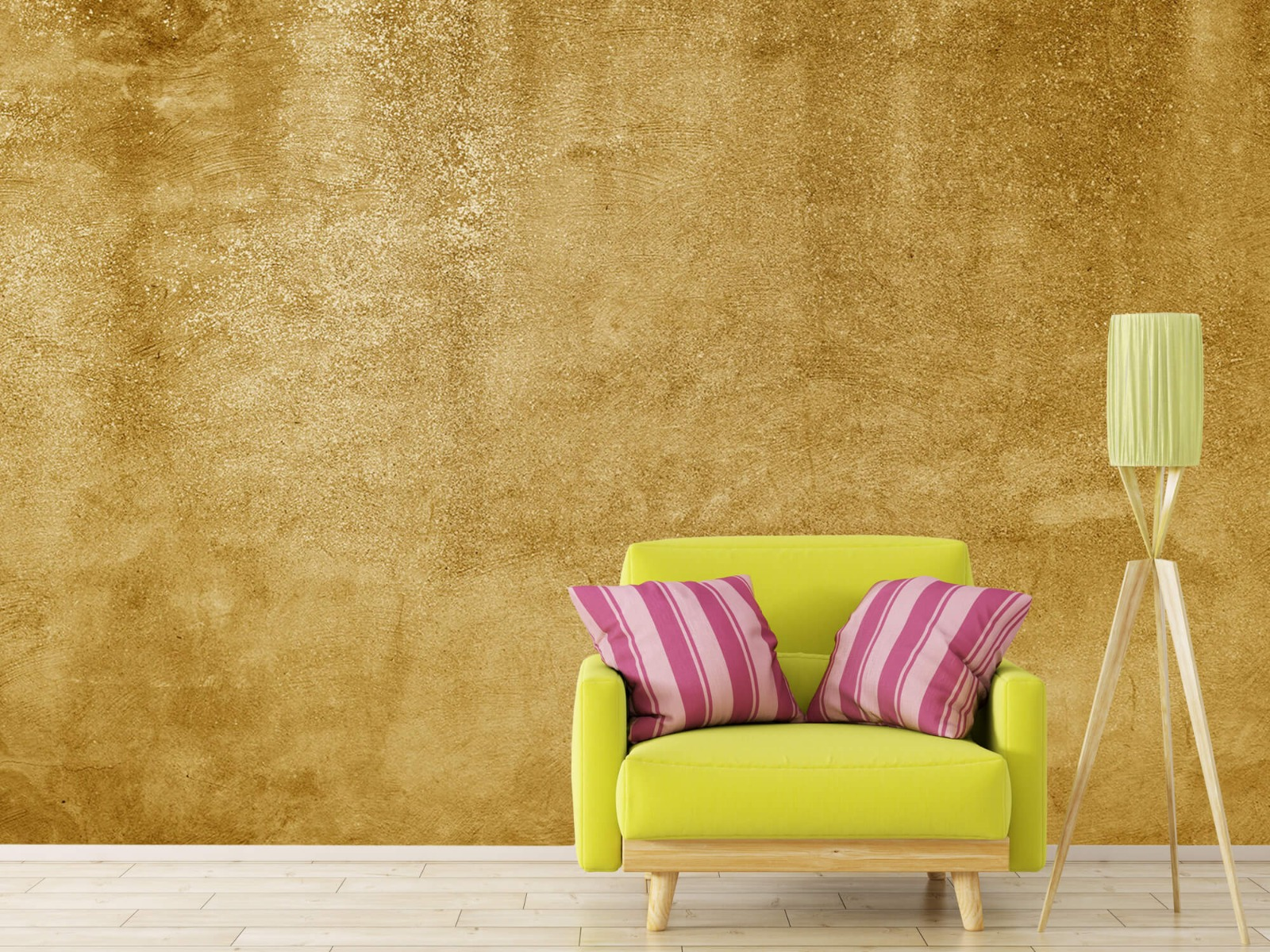 Betonlook behang - Oker geel beton - Woonkamer 17