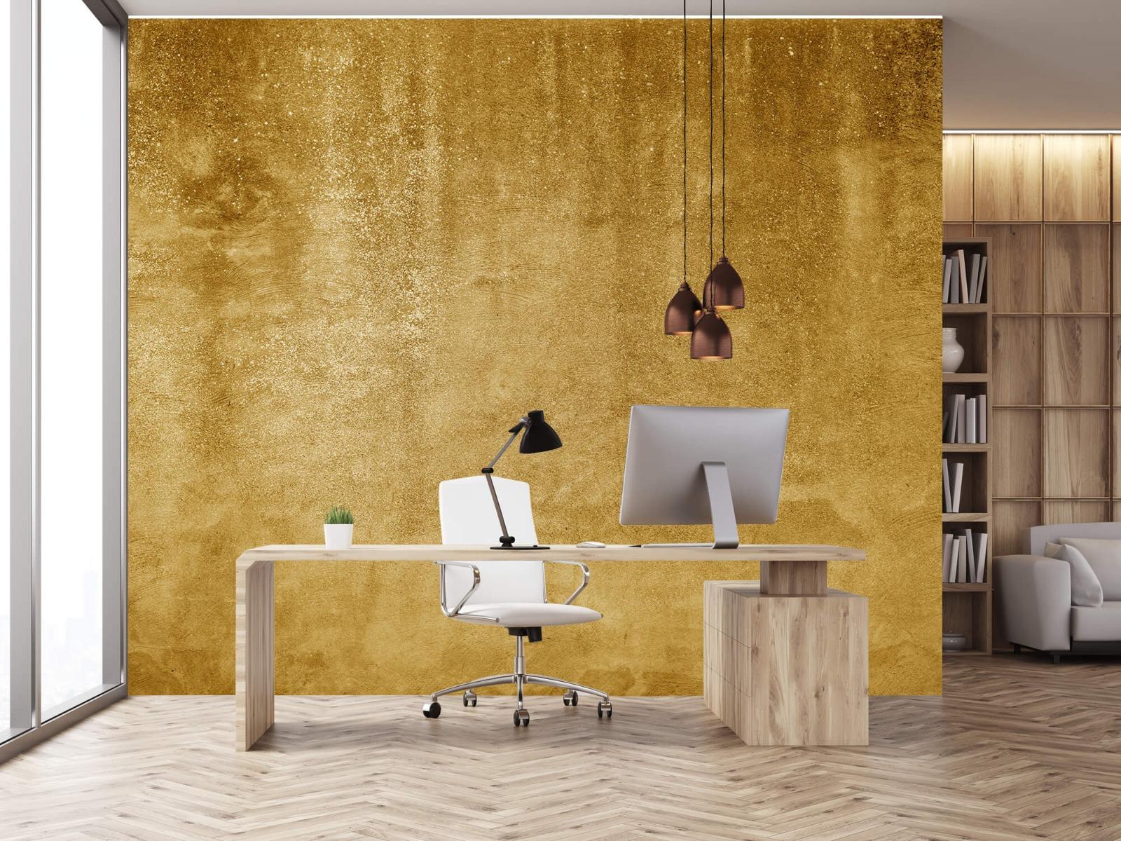 Betonlook behang - Oker geel beton - Woonkamer 24