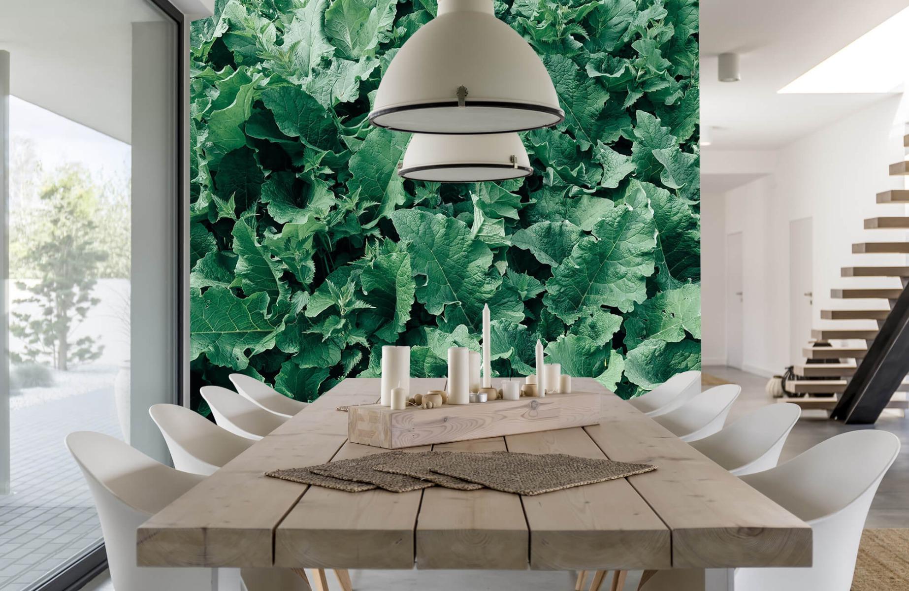 Bladeren - Gedetailleerd groen bladerdek - Wallexclusive - Slaapkamer 2