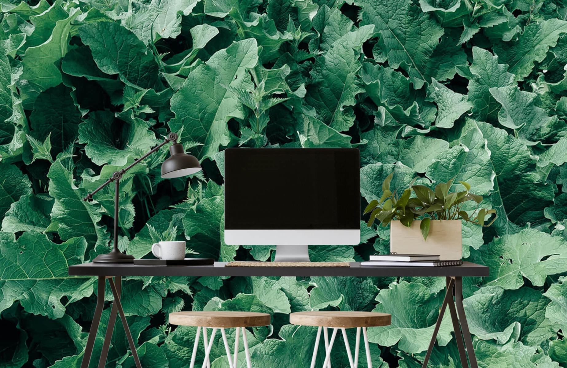 Bladeren - Gedetailleerd groen bladerdek - Wallexclusive - Slaapkamer 1